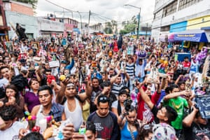 Thousands of devotees line the streets in Tepito, Mexico City, to attend Mass for Saint Death.