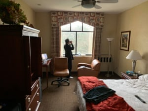 The Morse's room at the Westwind Inn hotel on Travis air force base in Fairfield, California.
