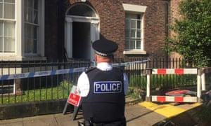 Police cordon on Falkner Street after a man was arrested on suspicion of murder.