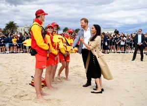 Prince Harry and Meghan Duchess of Sussex tour of Australia - 18 Oct 2018Mandatory Credit: Photo by Tim Rooke/REX/Shutterstock (9936538ca) Meghan Duchess of Sussex and Prince Harry with Albert Park Primary School students at South Melbourne Beach Prince Harry and Meghan Duchess of Sussex tour of Australia - 18 Oct 2018 The Duke and Duchess will travel on an iconic Melbourne tram to South Melbourne beach, where they will join volunteers and school children from the local BeachPatrol group. Here, Their Royal Highnesses will learn about efforts to keep Port Phillip Bay beaches and foreshores clear of litter to reduce the negative impact on the marine environment.