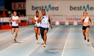 Caster Semenya (C) competes in the women's 200m final during the Athletics Gauteng North Championships at the LC de Villiers Athletics Stadium in Pretoria on 13 March  2020