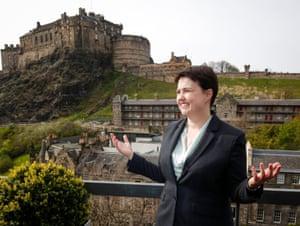 Scottish Conservative leader Ruth Davidson stands with Edinburgh Castle in the background.