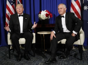 Donald Trump meets with Malcolm Turnbull on 4 May in New York.