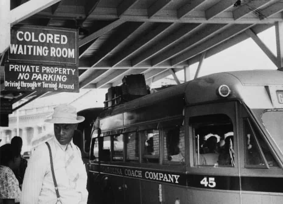 Racial segregation at a bus station in North Carolina in 1940.