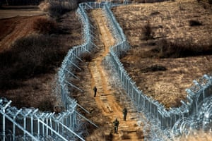 A fence on the border between Greece and Macedonia.