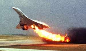 Air France Concorde flight 4590 takes off from Charles de Gaulle airport, in Paris, with fire trailing from its engine on 25 July 2000.