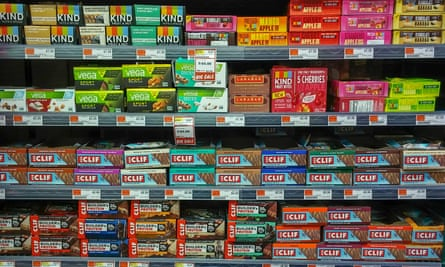 A selection of energy bars in a supermarket in New York, US.