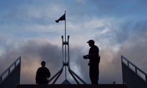 AFP officers at Parliament House in Canberra.