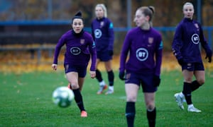 Lucy Bronze (left) keeps her eyes on the ball during an England training session at the Zimni Stadion in Hluboka nad Vltavou.