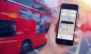 An Uber app and a red London double-decker bus