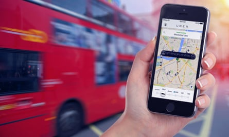 Car search by Uber app on phone in London.
