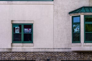 Biden – Harris and Black Lives Matter placards adorn the windows of an office in Milwaukee, Wisconsin.