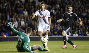 Finally Erik Lamela finds the net with this dink over the keeper.