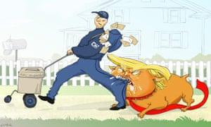 Nicola Jennings cartoon, 17/8/20: bulldog Trump attacks postman