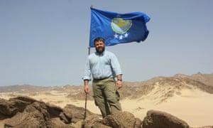 Jeremiah Heaton makes his claim to Bir Tawil in 2014.