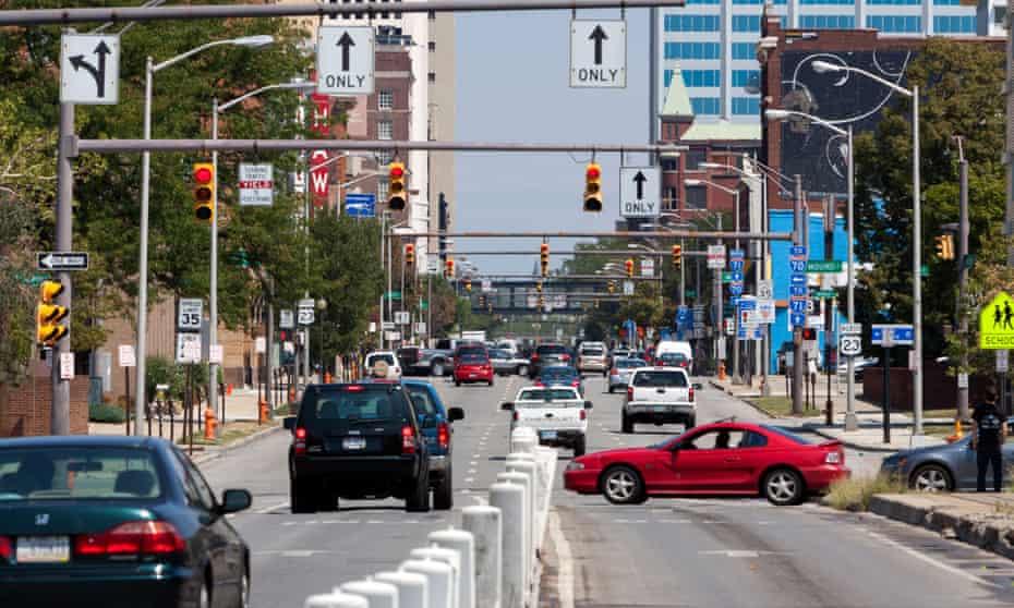 Traffic in Columbus, Ohio, USA.