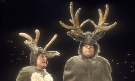Morecambe and Wise dressed as reindeer from one of their BBC Christmas shows