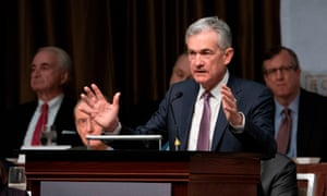 The Federal Reserve chairman, Jerome Powell, addresses the Economic Club of New York on Wednesday.