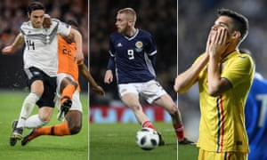 Nico Schulz of Germany challenges Denzel Dumfries of the Netherlands, Oli McBurnie of Scotland and Romania's Ianis Hagi.