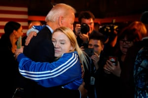 Joe Biden gets a hug from a supporter after he laid out his economic policy plan at the Scranton Cultural Center in Scranton, Pennsylvania.