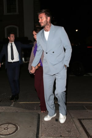 David Beckham in a light blue double breasted fashion suit