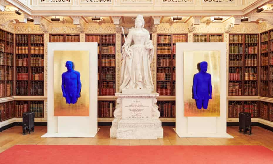 'You almost expect Queen Anne to swipe them with her sceptre' … Yves Klein's relief portraits of Arman and Claude Pascal, 1962, in the Long Library.