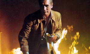Paul Newman, surrounded by flames