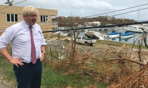 Boris Johnson in 2017 viewing damage caused by Hurricane Irma on Tortola, British Virgin Islands.