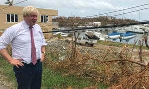 Boris Johnson in 2017 viewing damage caused by Hurricane Irma on Tortola, British Virgin Islands.
