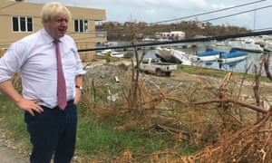 Boris Johnson surveys the damage in Tortola, British Virgin Islands, after Hurricane Irma.