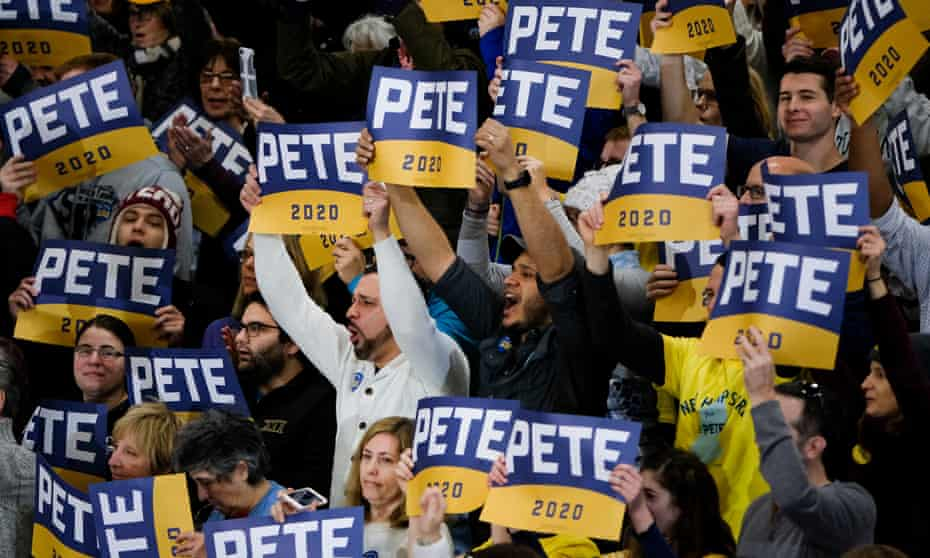 Pete Buttigieg supporters in Nashua, New Hampshire on 9 February 2019.