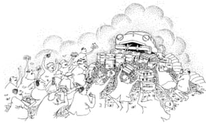 A 1970 anti-automobile cartoon by Richard Hedman. It originally appeared in Autokind V Mankind by Kenneth R Schneider.