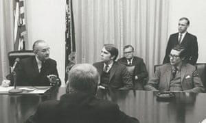 Lyndon B Johnson (left) in a briefing at the White House, with Max Hastings seated on the right.