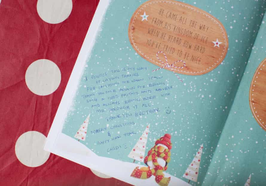 A Christmas card given to Masterton by Cabdi in Edinburgh.