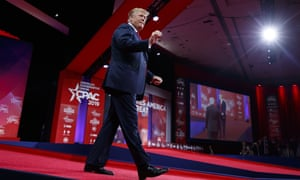 Donald Trump arrives to speak at Conservative Political Action Conference.