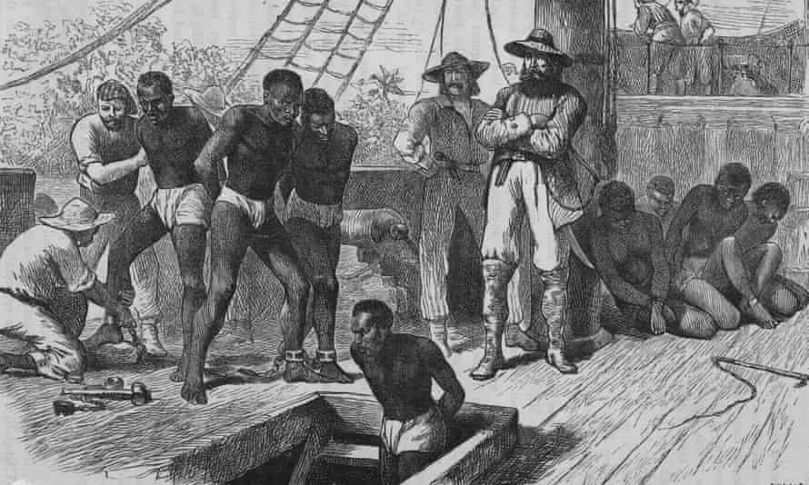 Slaves aboard a slave ship being shackled before being put in the hold