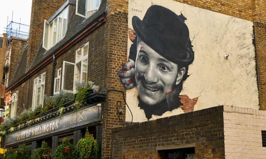 Glorifying a murderer? … Zabou's mural of Jack the Ripper above the Duke of Wellington pub.