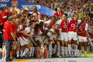 Arsenal raise the Premier League trophy in May, 2004