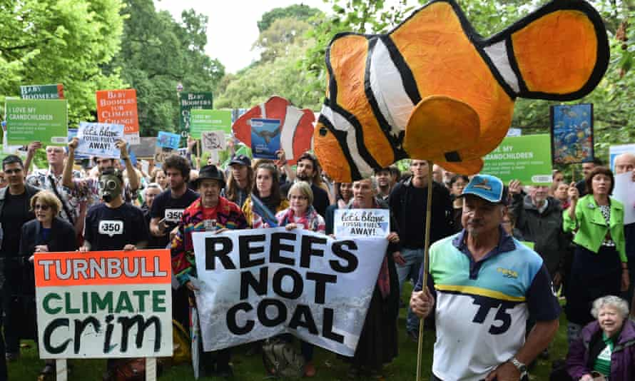 A protest in Melbourne against the proposed Carmichael coalmine