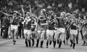 Manchester United players celebrate after their 1983 FA Cup final replay victory over Brighton & Hove Albion.