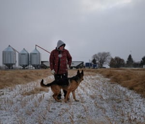 Braden Halina inspects crops