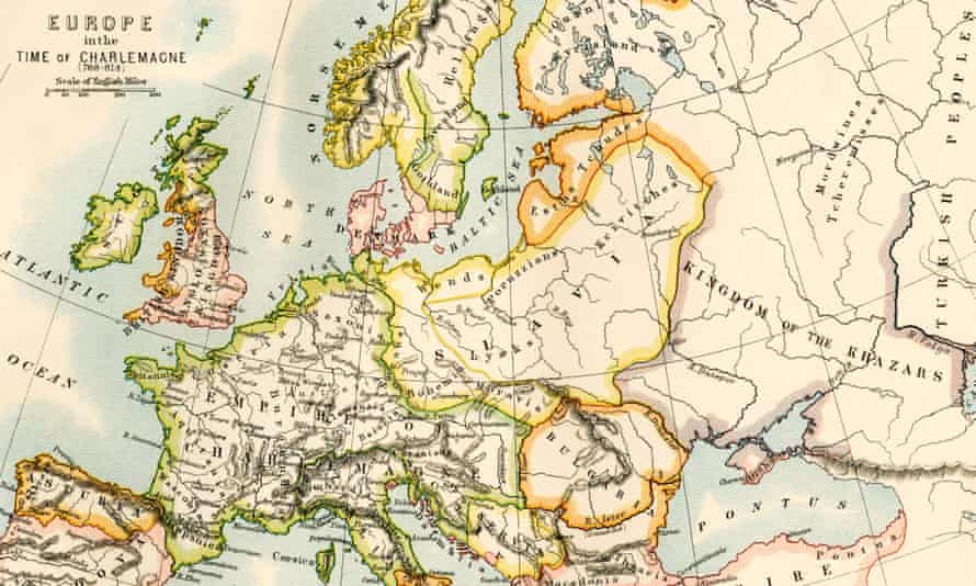 A map of Europe in the time of Charlemagne.