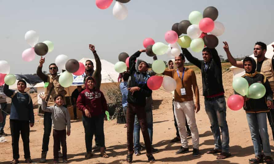 A protest on 4 April in the Gaza Strip near the border with Israel, seeking the right of return for Palestinian refugees.