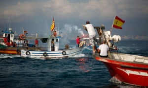 Spanish fishermen protest at the site where an artificial reef was built by Gibraltar in 2013.