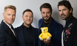 Boyzone with Pudsey the bear backstage at BBC Children in Need.