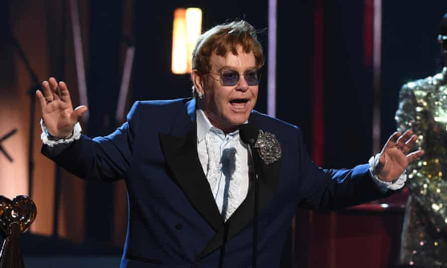 Elton John at the iHeartRadio Music awards in May 2021.