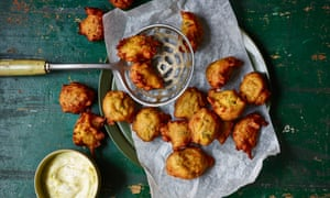Spiced swede and onion beignets with lime pickle yoghurt