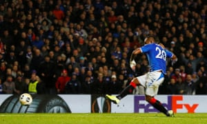 Rangers' Alfredo Morelos scores their first goal.