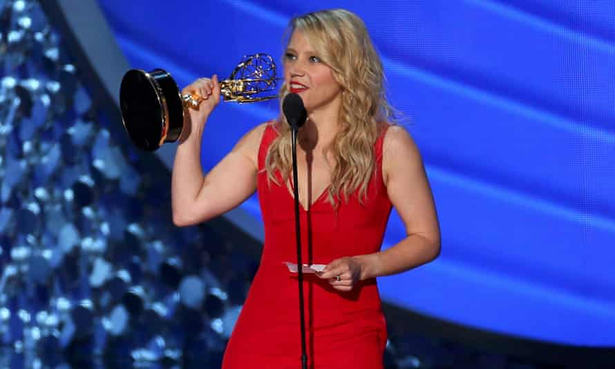 Kate McKinnon accepts the award for outstanding supporting actress in a comedy series at the Emmy awards in 2016.