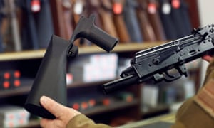 A bump stock device fits on a semi-automatic rifle to increase the firing speed, making it similar to a fully automatic rifle.